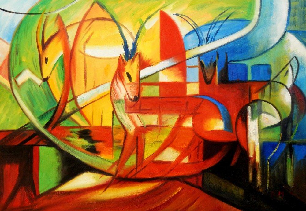 Franz Marc - Gazellen d95528 60x90cm Expressionismus Ölgemälde