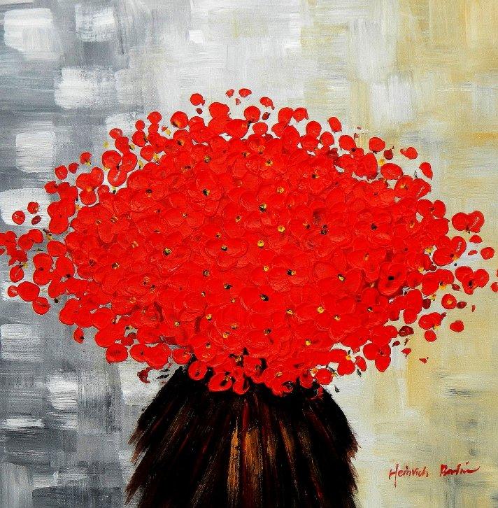 Modern Art - Abstrakte rote Blumen e95555 60x60cm Ölbild handgemalt