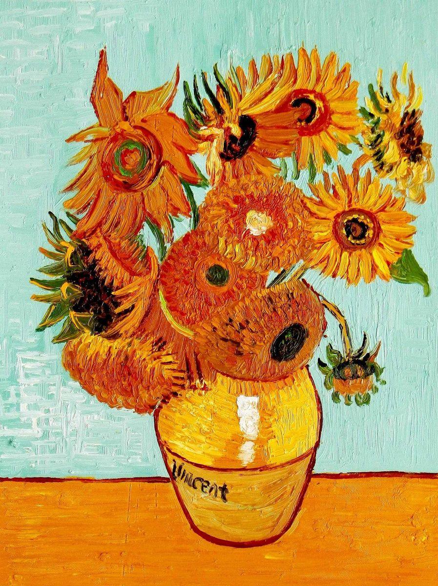 Vincent van Gogh - Zwölf Sonnenblumen a95722 30x40cm exzellentes Ölbild
