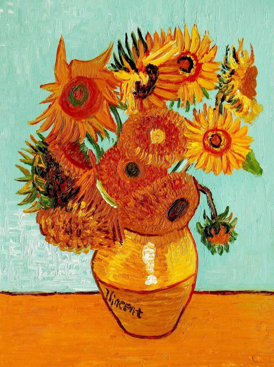 Vincent van Gogh - Zwölf Sonnenblumen a95723 30x40cm exzellentes Ölbild