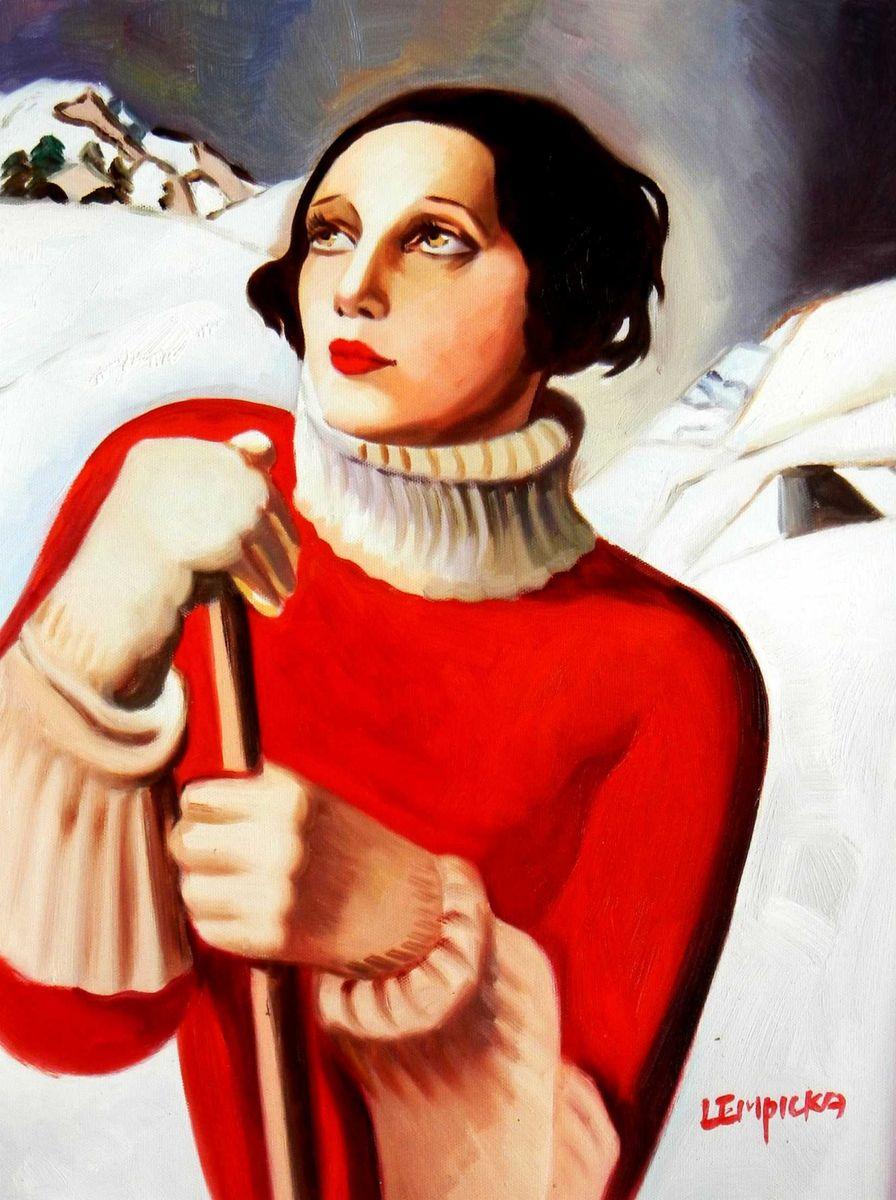 Homage to T. Lempicka - Sain Moritz a95724 30x40cm handgemaltes Gemälde