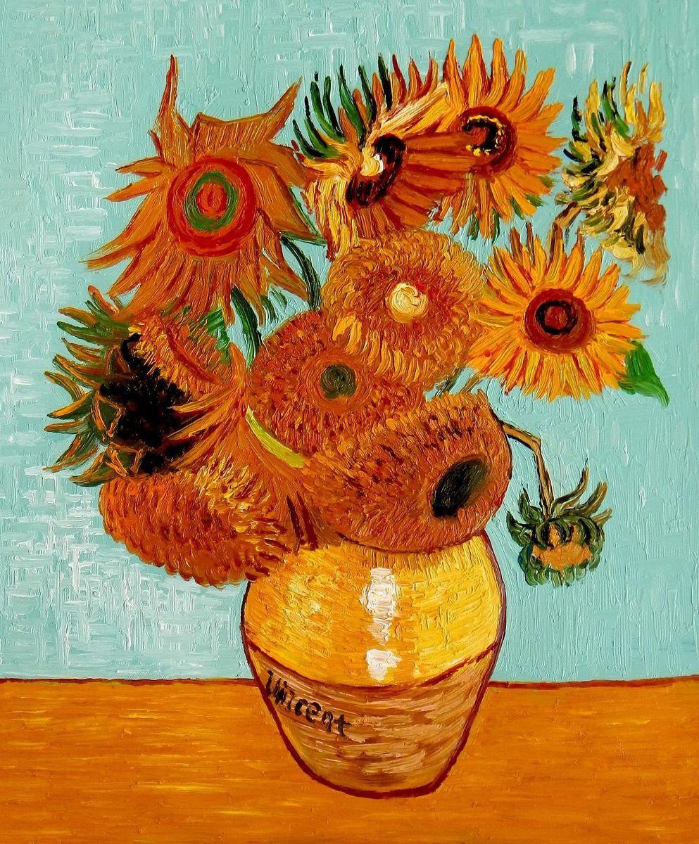 Vincent van Gogh - Zwölf Sonnenblumen b95732 40x50cm exzellentes Ölbild