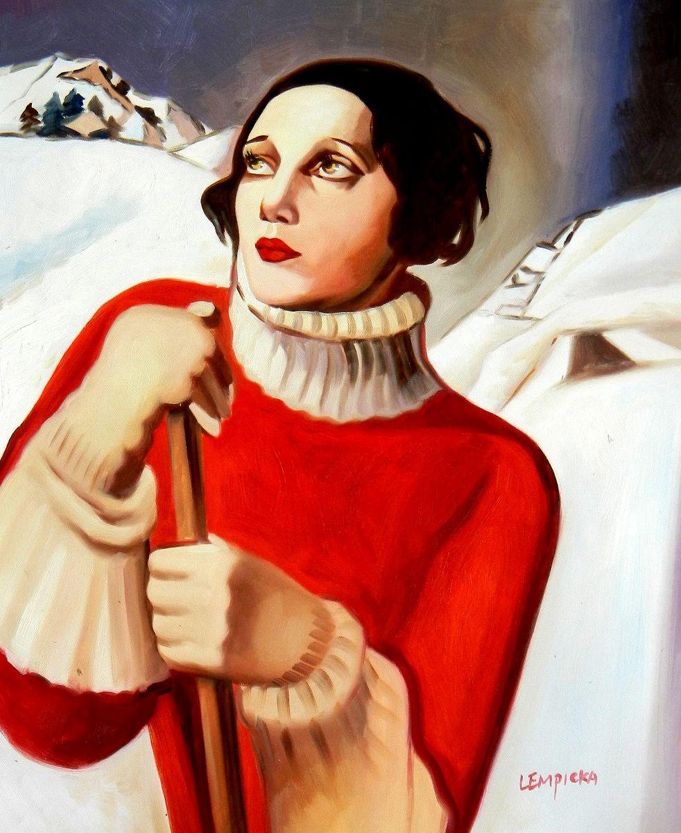 Homage to T. Lempicka - Sain Moritz b95734 40x50cm handgemaltes Gemälde