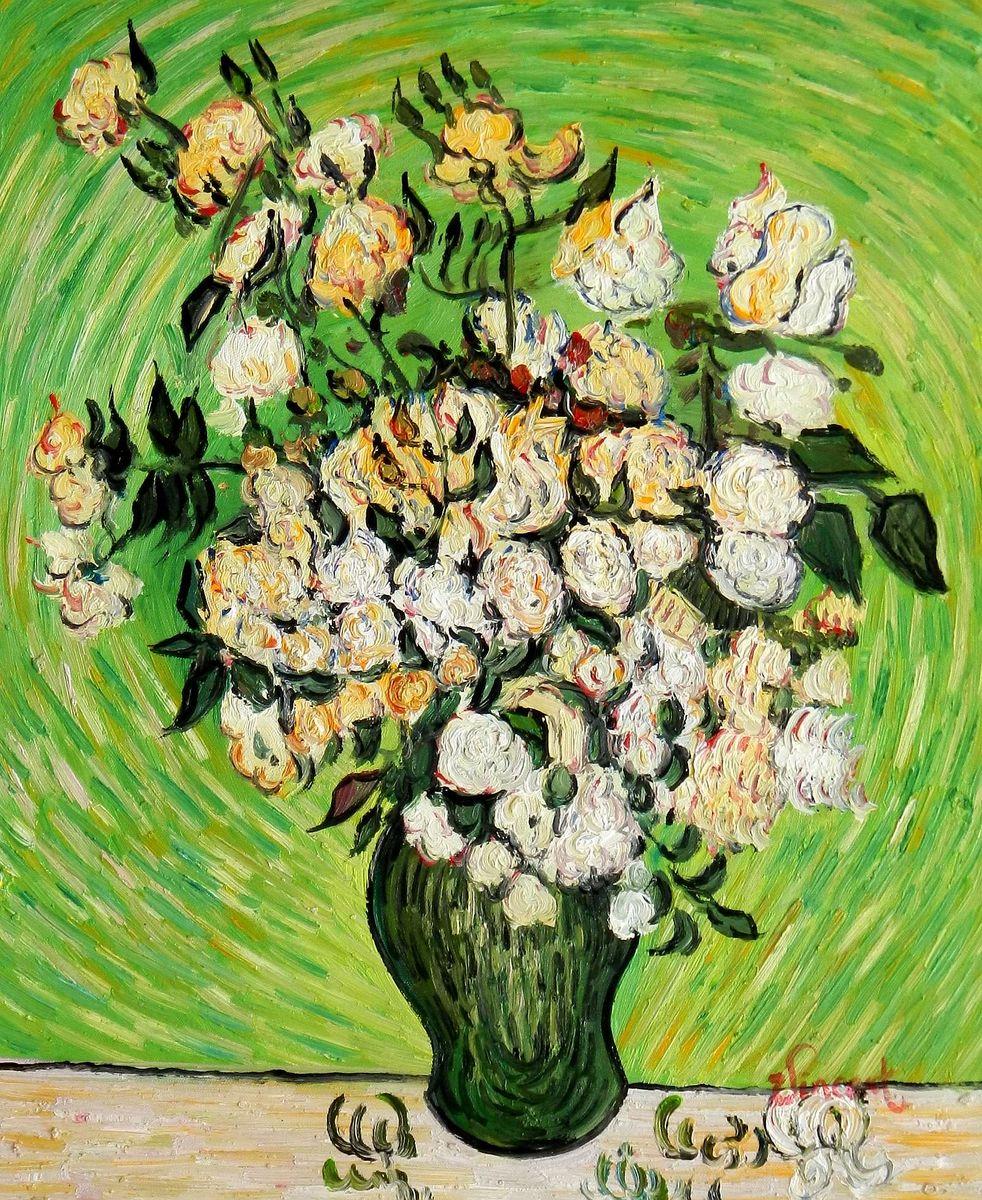 Vincent van Gogh - Vase mit weißen Rosen b95738 40x50cm exzellentes Ölgemälde