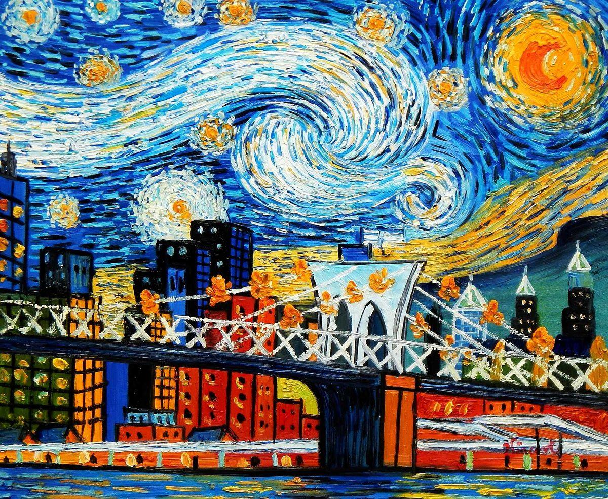 Vincent v. Gogh - Homage Sternennacht New York edition b95741 40x50cm Ölbild