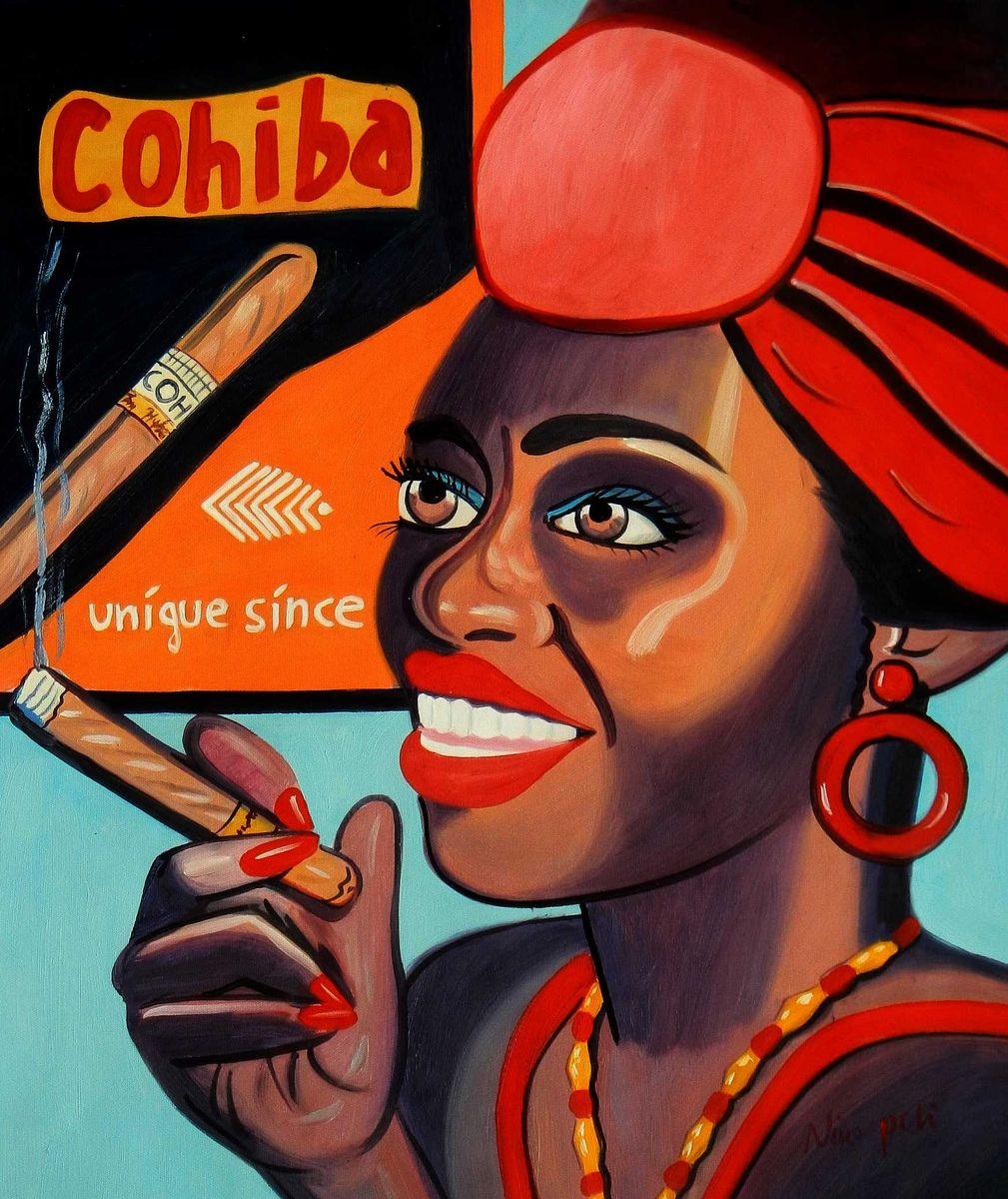 Modern Art - Frau mit Cohiba Zigarre c95756 50x60cm exquisites Ölgemälde