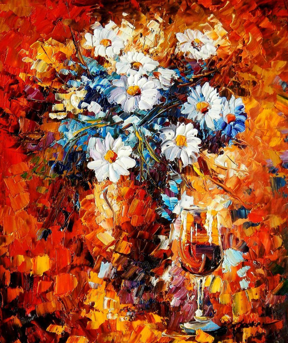 Modern Abstrakt - Vase mit bunten Blumen c95757 50x60cm abstraktes Ölbild handgemalt