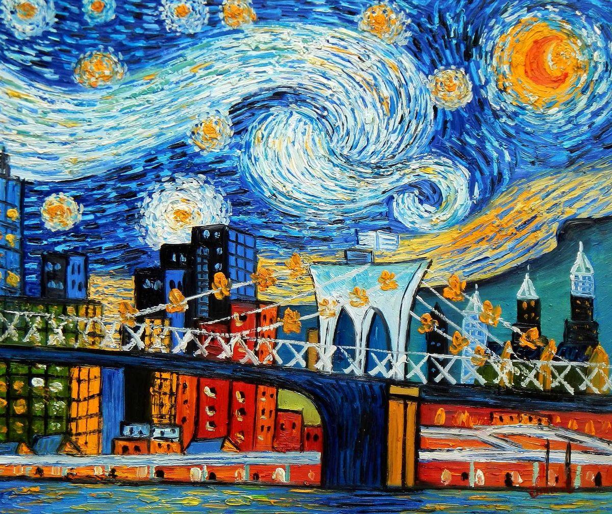 Vincent v. Gogh - Homage Sternennacht New York edition c95762 50x60cm Ölbild