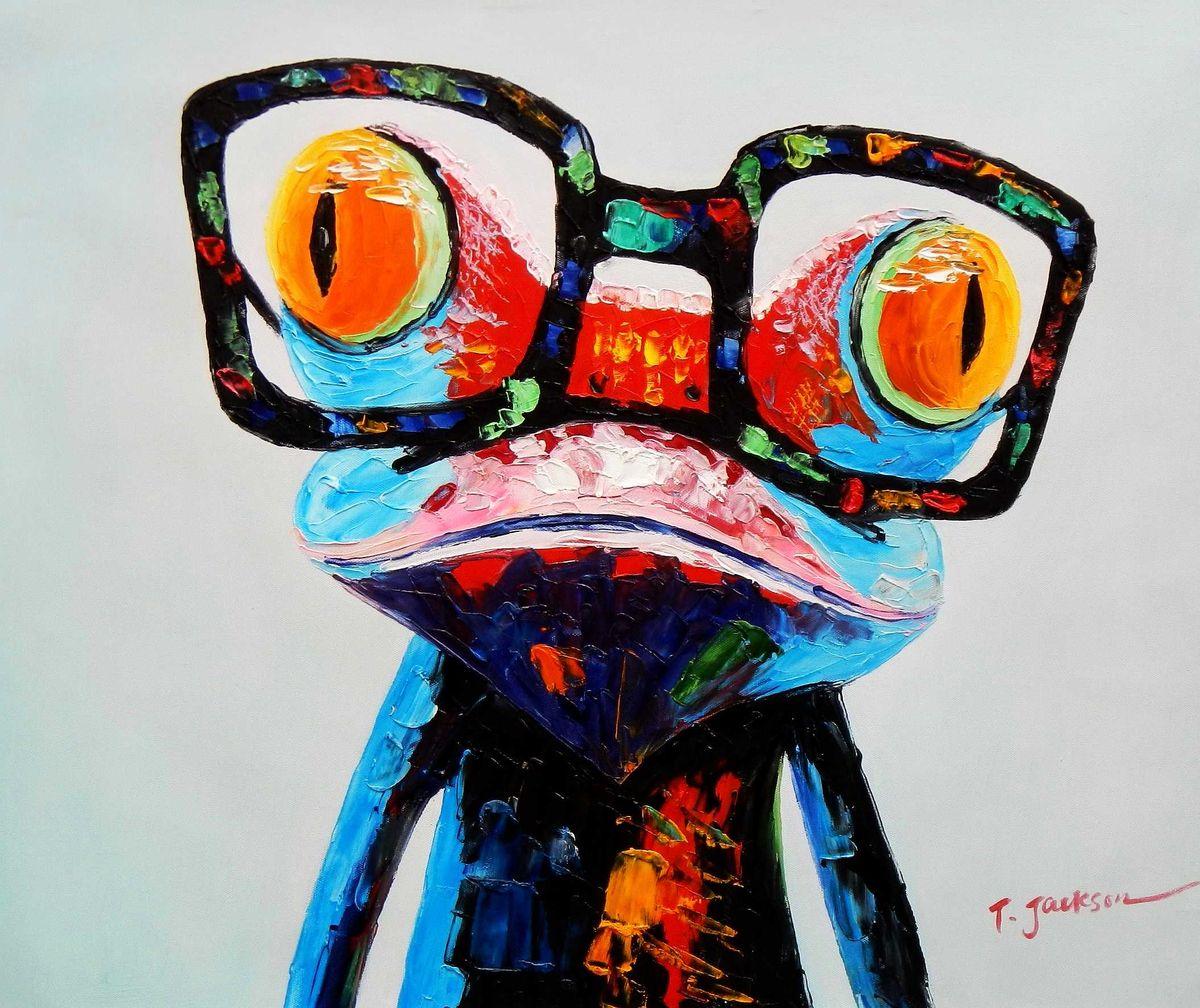 Modern Art - Woody der Frosch c95771 50x60cm fantastisches Ölbild