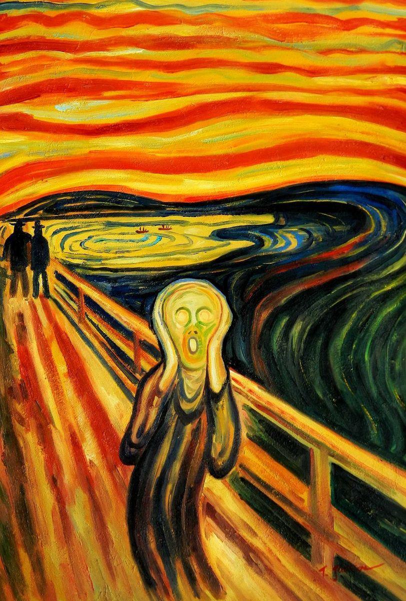 Edvard Munch - Der Schrei d95809 60x90cm handgemaltes Ölgemälde