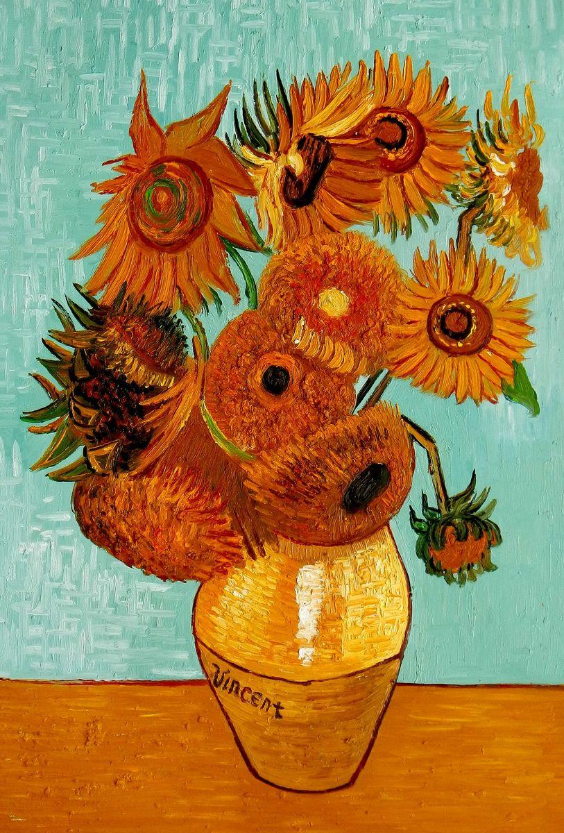 Vincent van Gogh - Zwölf Sonnenblumen d95810 60x90cm exzellentes Ölbild