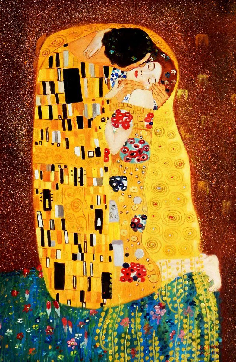 Gustav Klimt - Der Kuss d95818 60x90cm Jugendstil Ölgemälde handgemalt