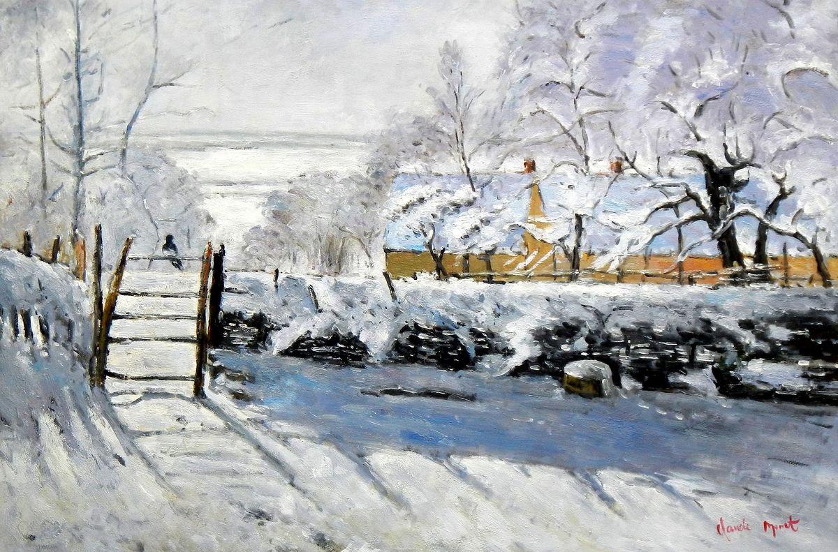 Claude Monet - Die Elster d95823 60x90cm handgemaltes Ölgemälde