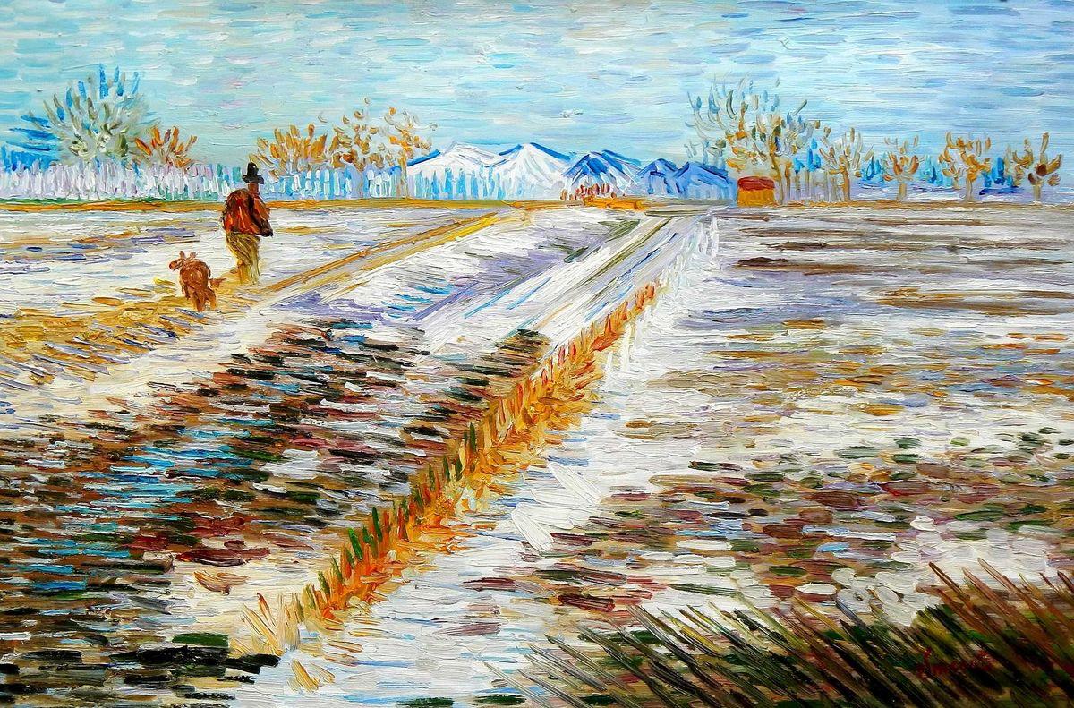 Vincent van Gogh - Landschaft mit Schnee d95826 60x90cm Ölbild handgemalt