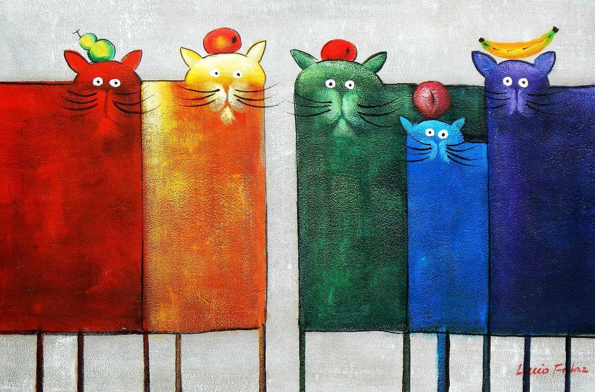 Pop Art - Das lustige bunte Katzenquintett d95828 60x90cm witziges Ölbild