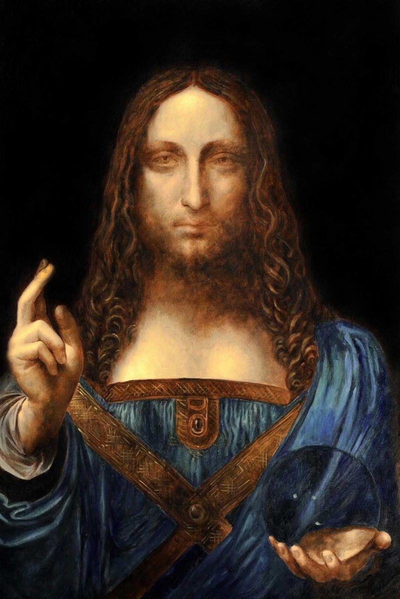 Leonardo da Vinci - Salvator Mundi d95990 60x90cm exzellentes Ölgemälde Museumsqualität