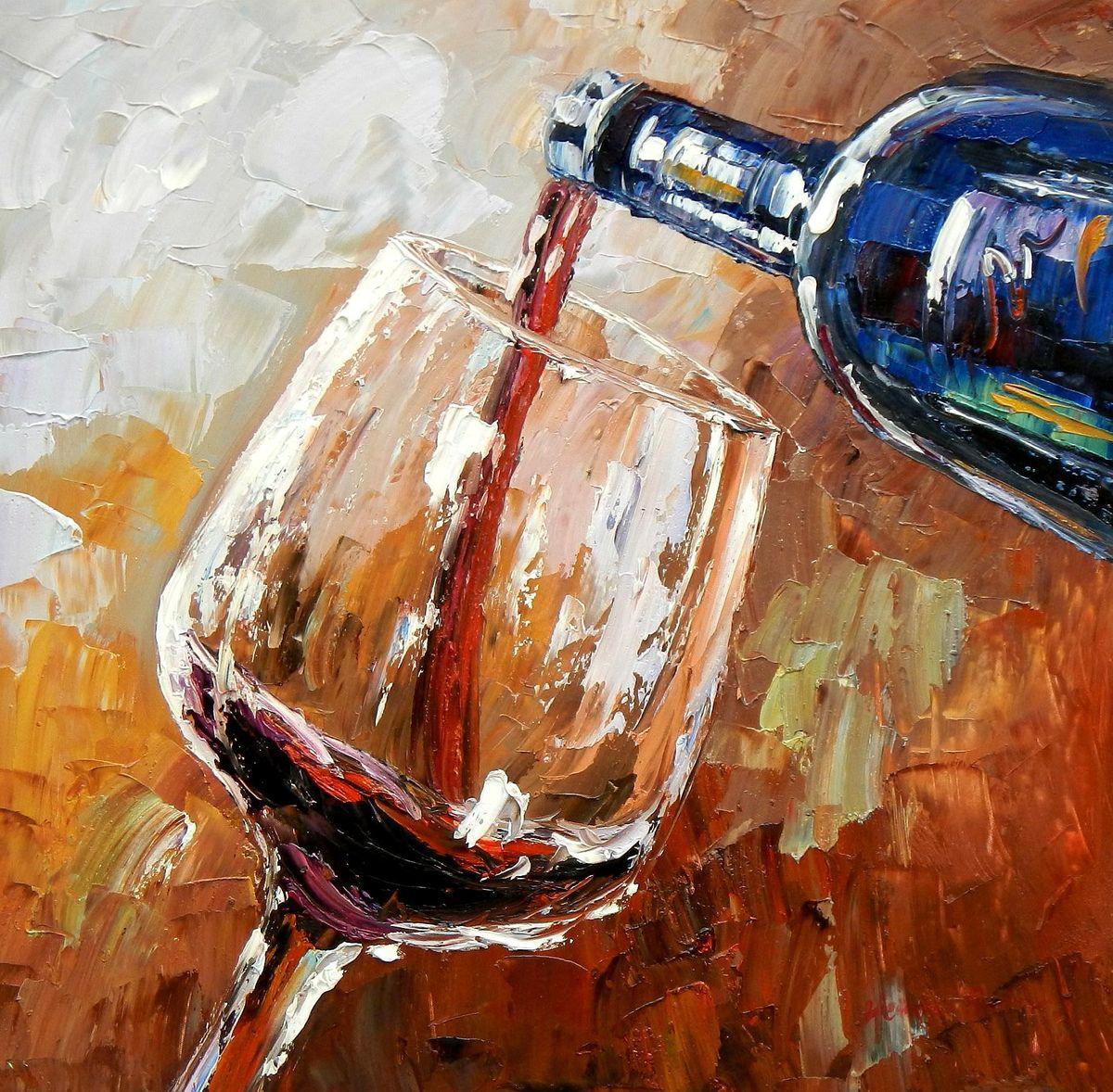 Modern Art - Winery Arts e95793 60x60cm Ölgemälde handgemalt