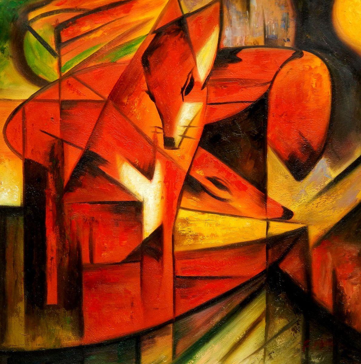 Franz Marc - Füchse e95798 60x60cm Expressionismus Ölgemälde handgemalt