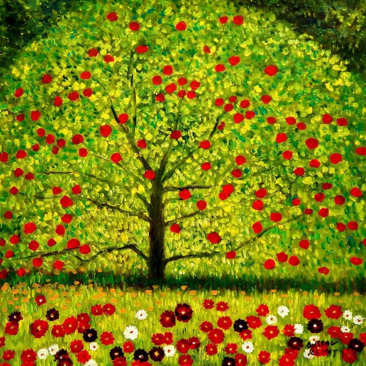 Gustav Klimt - Der Apfelbaum g95867 80x80cm bemerkenswertes Ölgemälde handgemalt