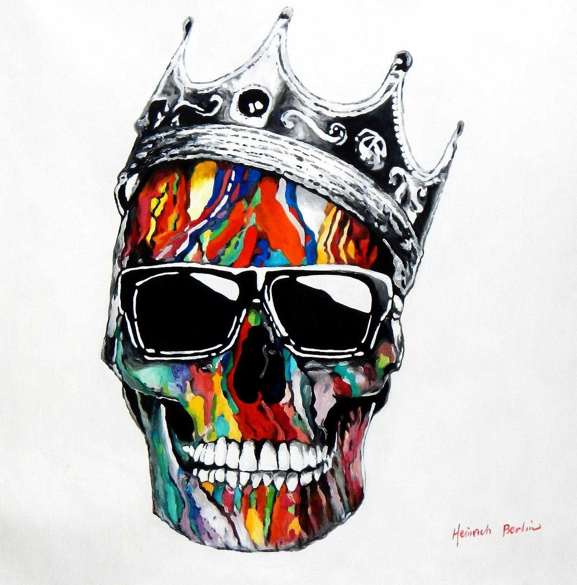 Modern Art - King skull raising g95871 80x80cm abstraktes Ölbild