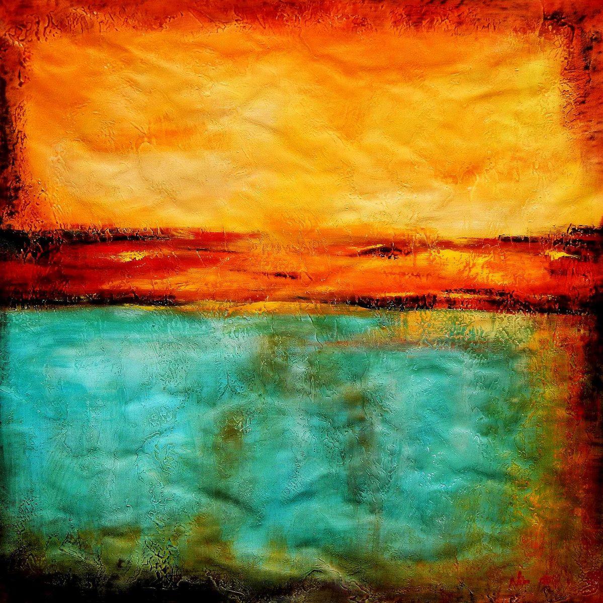 Abstract - Mirage in Babylon h95889 90x90cm abstraktes Ölbild