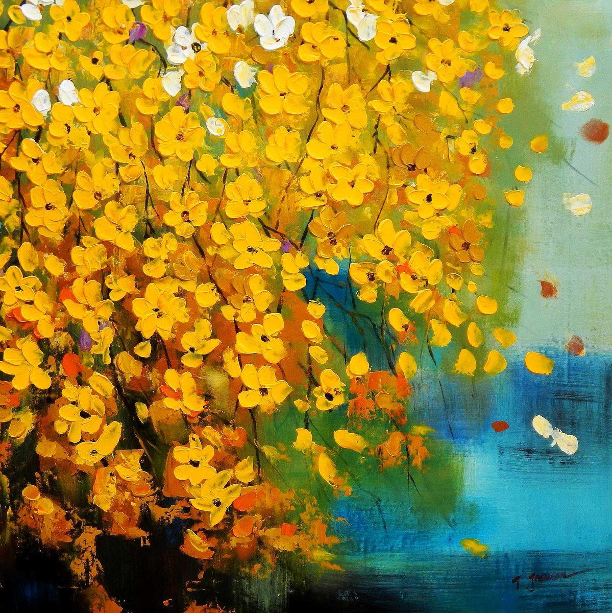 Modern Art - Gelbe Blüten Flavo Flores h95893 90x90cm abstraktes Ölbild