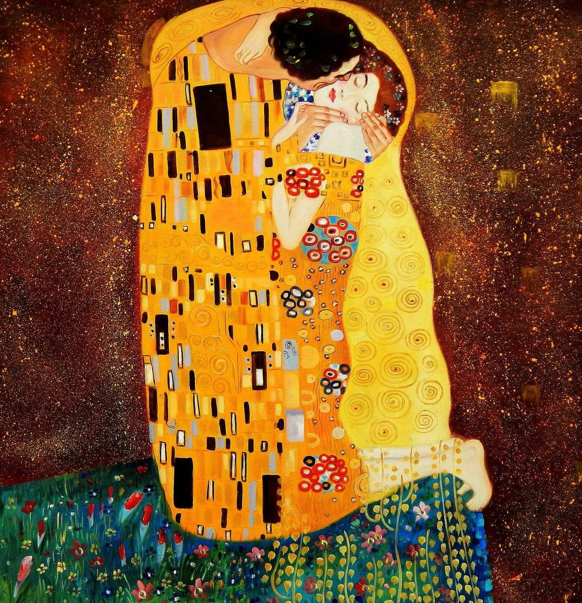 Gustav Klimt - Der Kuss h95894 90x90cm Jugendstil Ölgemälde handgemalt