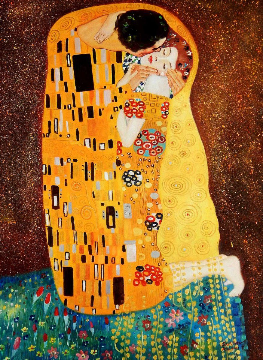 Gustav Klimt - Der Kuss i95903 80x110cm Jugendstil Ölgemälde handgemalt