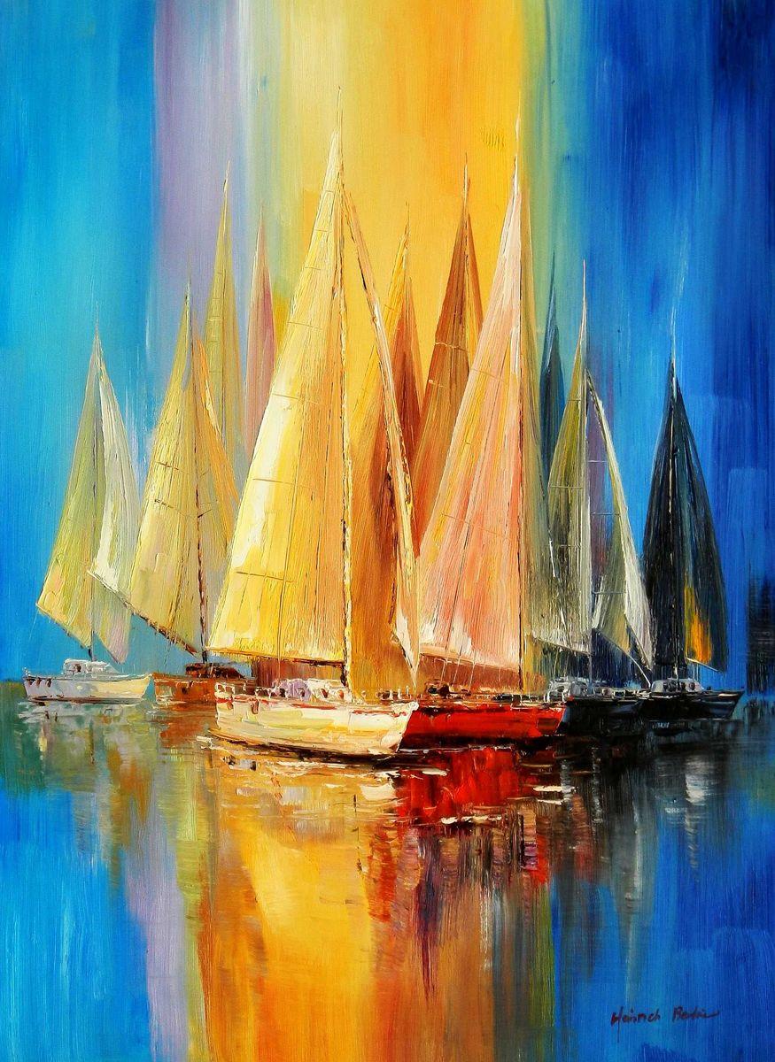 Segelboote auf dem Gardasee i95905 80x110cm modernes Gemälde handgemalt