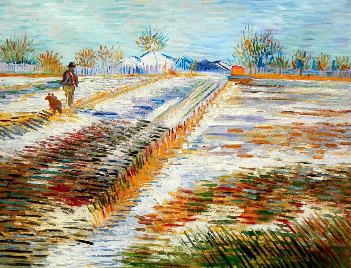 Vincent van Gogh - Landschaft mit Schnee k95941 90x120cm Ölbild handgemalt