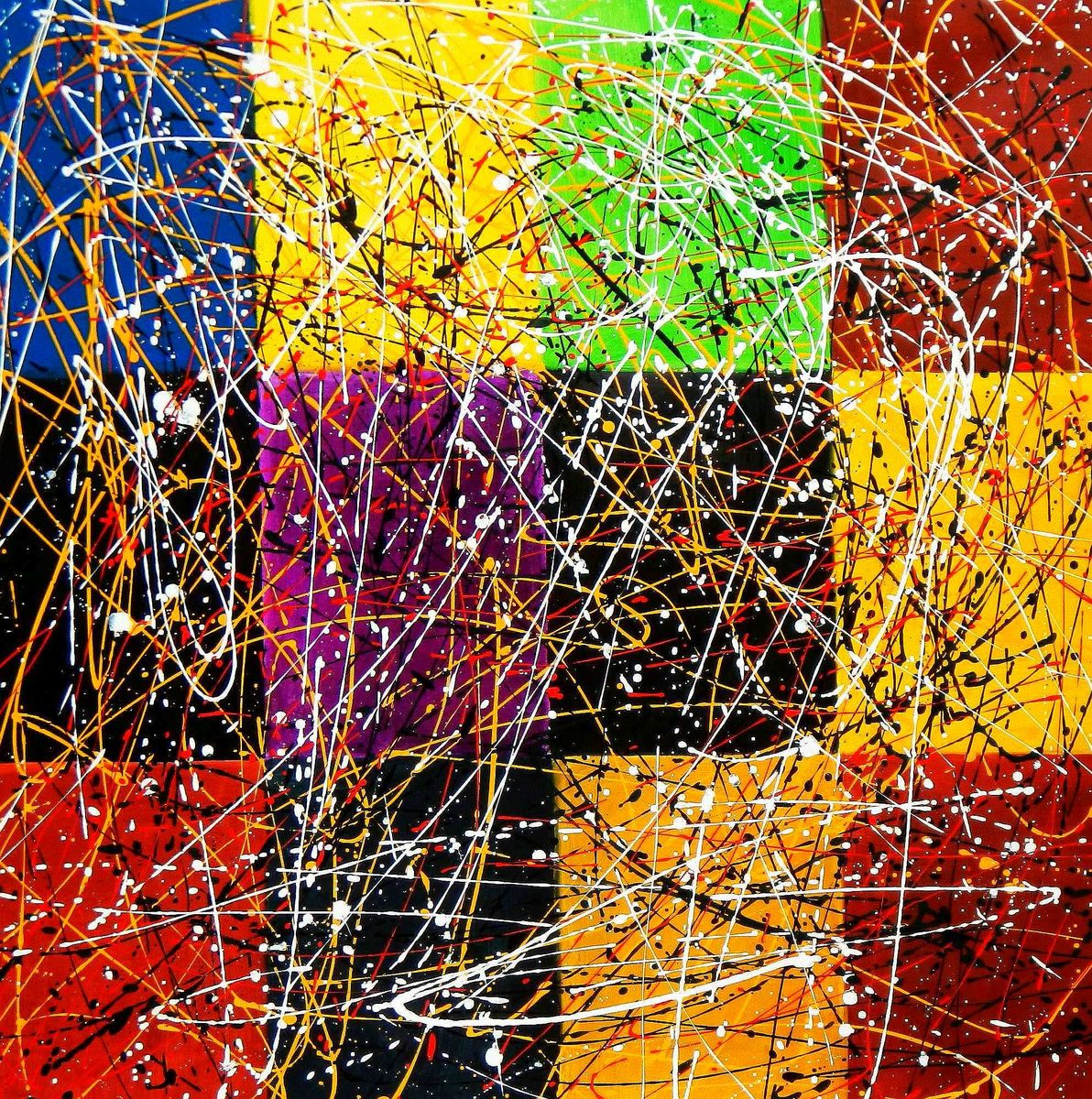 Homage of Pollock - Dripping over cubes m95947 120x120cm abstraktes Ölgemälde handgemalt