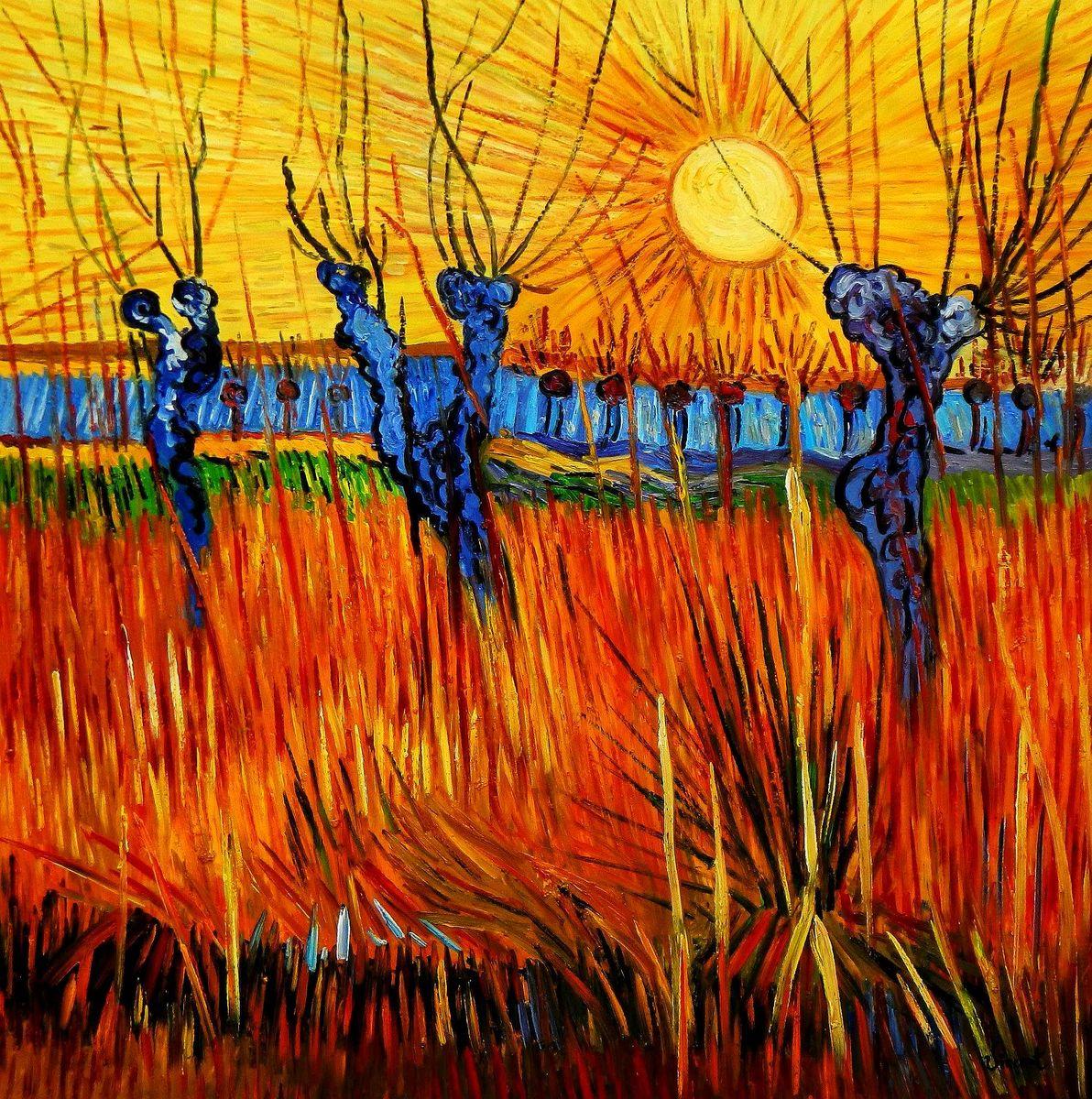 Vincent van Gogh - Weiden bei Sonnenuntergang m95952 120x120cm Ölbild handgemalt