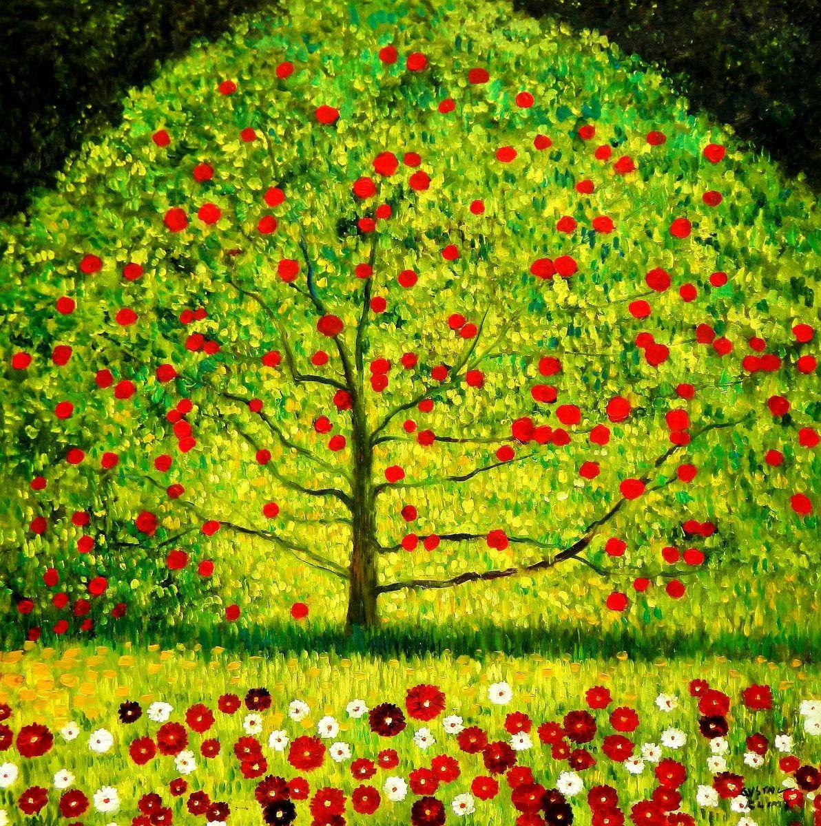 Gustav Klimt - Der Apfelbaum m95954 120x120cm bemerkenswertes Ölgemälde handgemalt