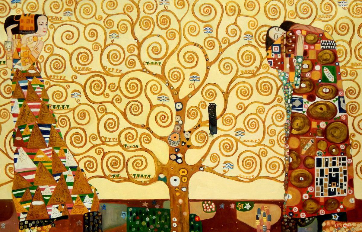 Gustav Klimt - Der Lebensbaum p95978 120x180cm Jugendstil Ölgemälde handgemalt Museumsqualität