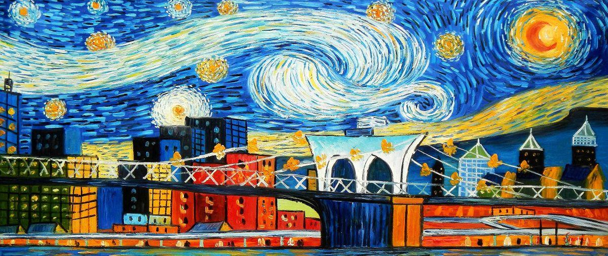 Vincent v. Gogh - Homage Sternennacht New York edition t95962 75x180cm Ölbild