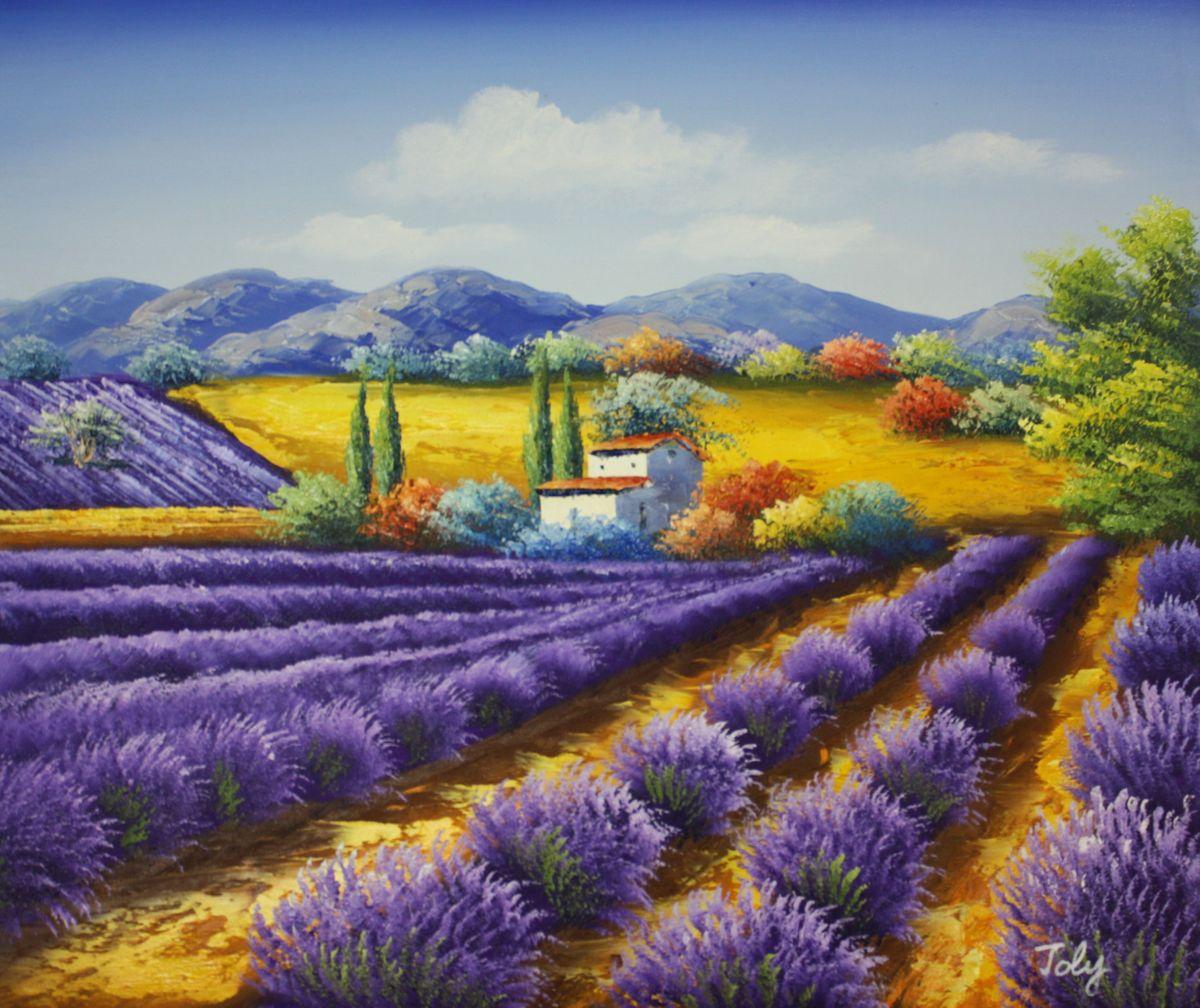 Lavendelfeld in der Toskana c96531 50x60cm fantastisches Ölbild handgemalt