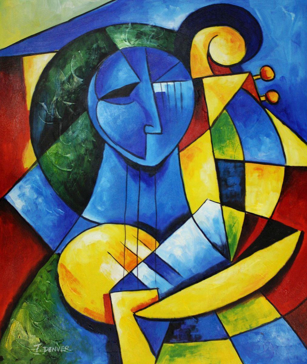 Frau mit Harfe c96534 50x60cm kubistisches Ölbild