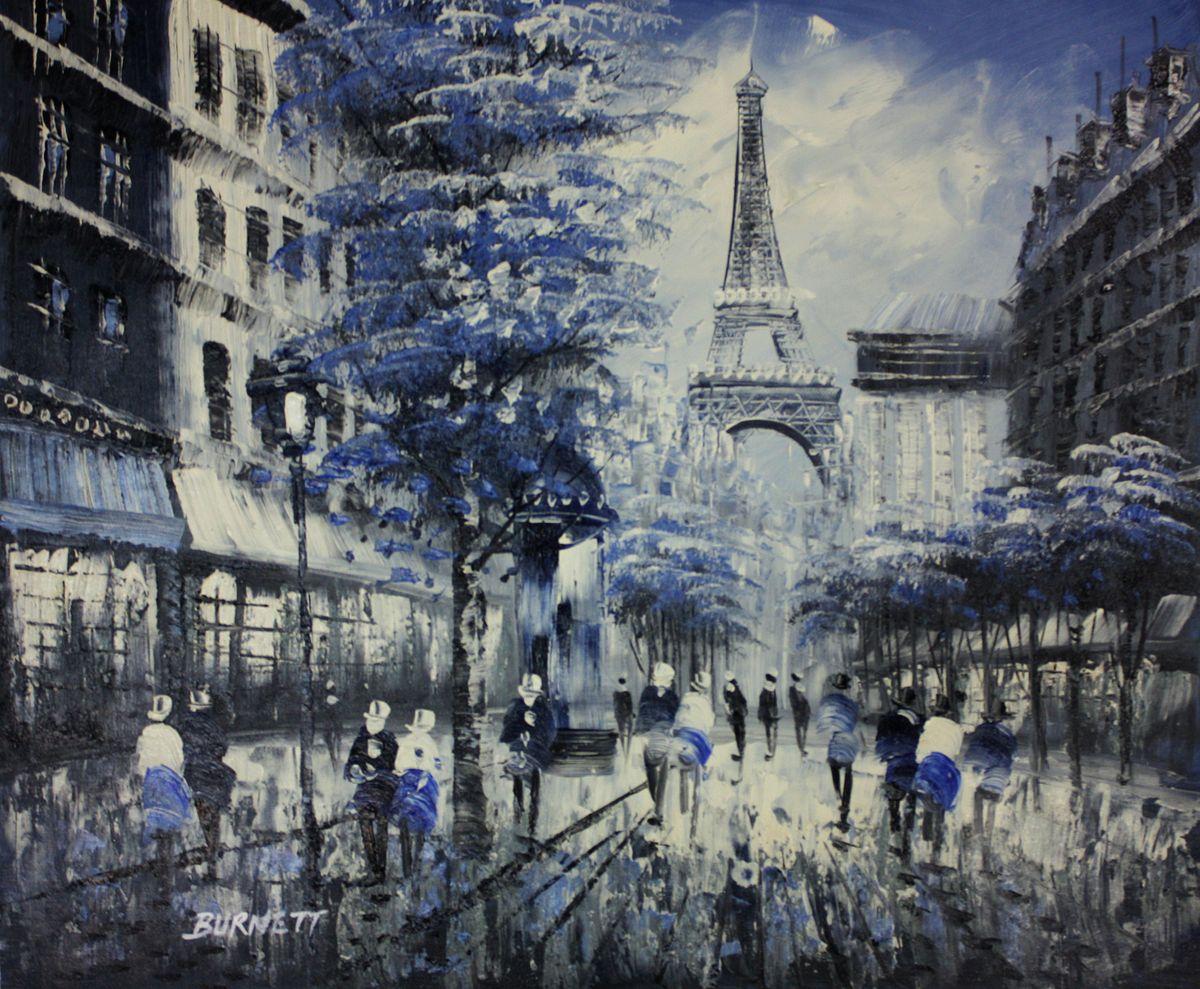 Modern Art - Paris Spaziergang am Abend c96546 50x60cm Ölbild handgemalt