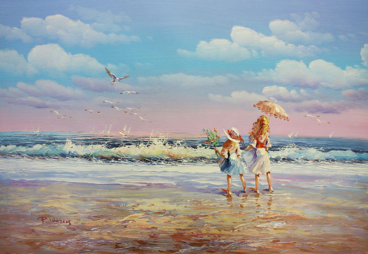 Sylt - Spaziergang am Strand d96487 60x90cm exzellentes Gemälde