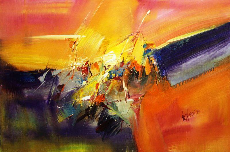 Abstract - Impact study d96492 60x90cm abstraktes Ölgemälde