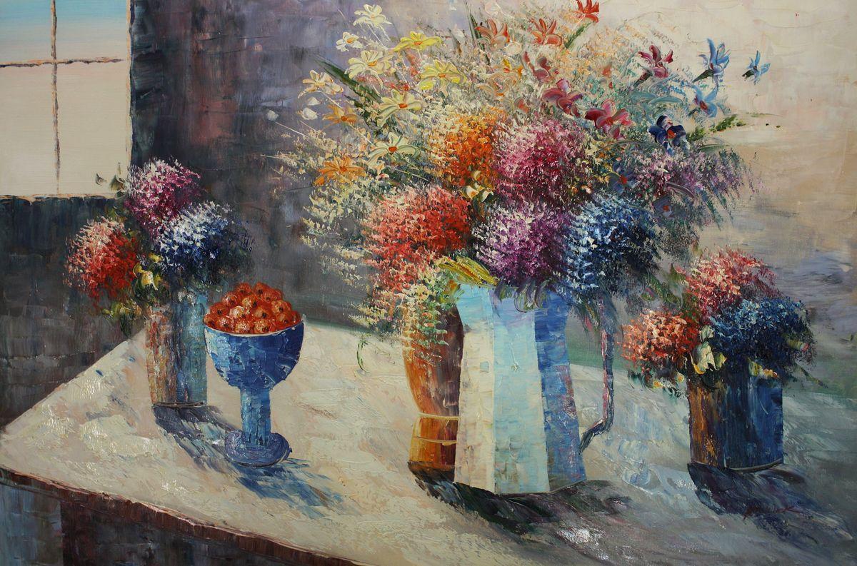 Modern Abstrakt - Vase mit bunten Blumen d96496 60x90cm abstraktes Ölbild handgemalt