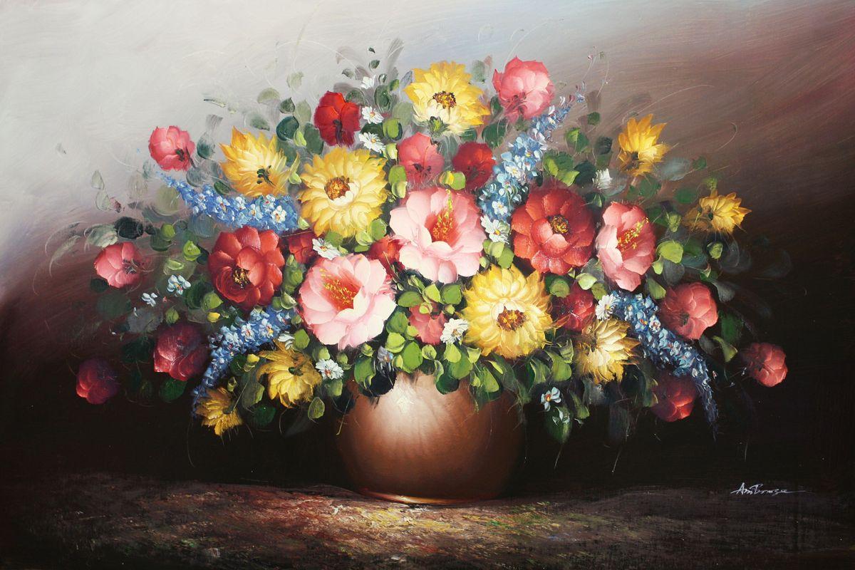 Klassisches Blumenvase Stillleben d96497 60x90cm exzellentes Ölbild