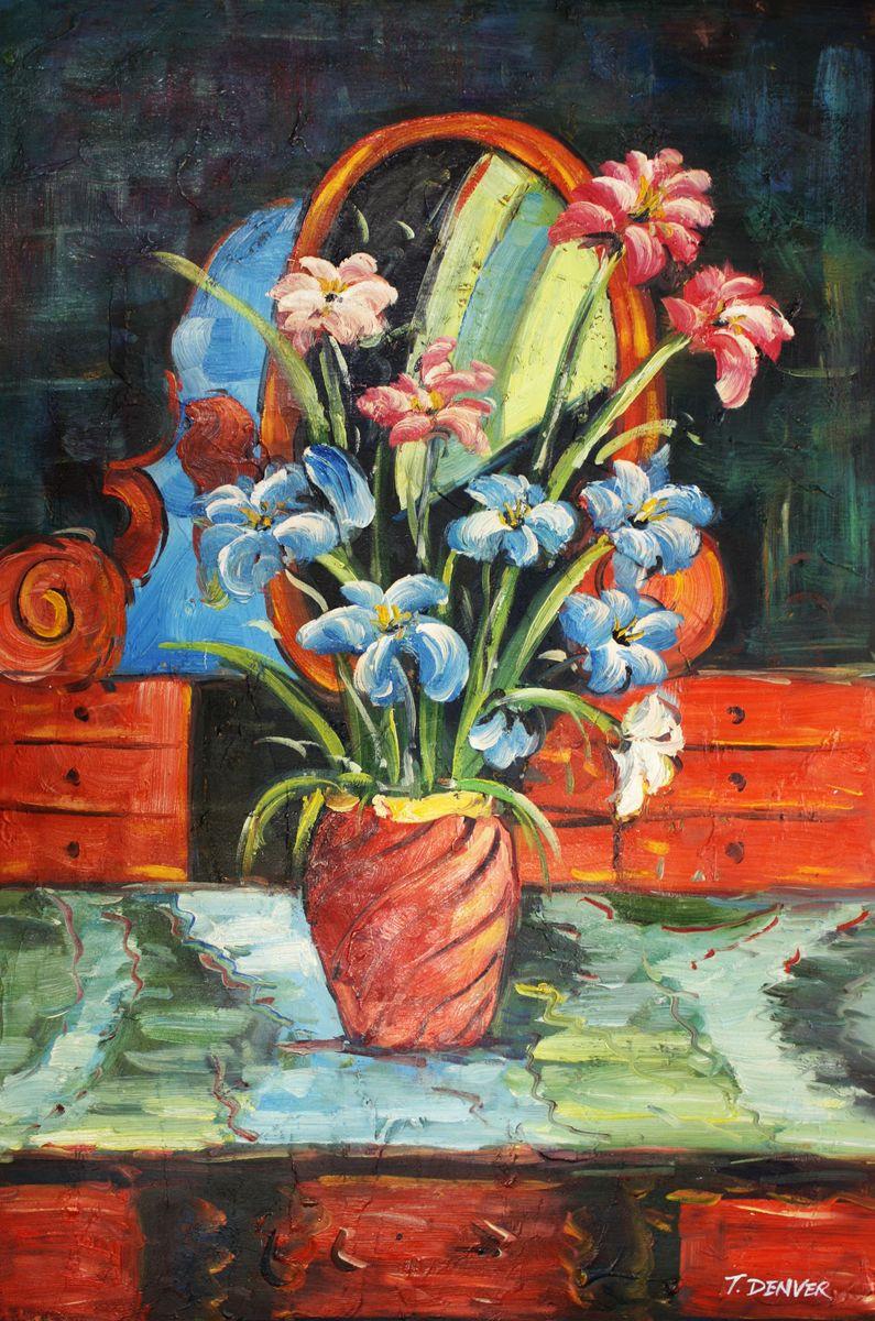 Modern Abstrakt - Vase mit bunten Blumen d96498 60x90cm abstraktes Ölbild handgemalt