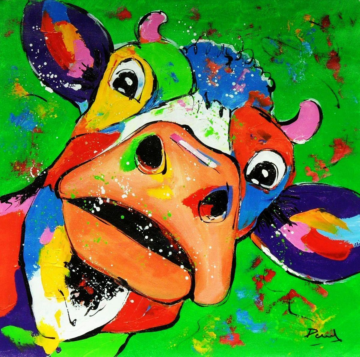 Modern Art - Kuh Elsa e96478 60x60cm lustiges Ölbild
