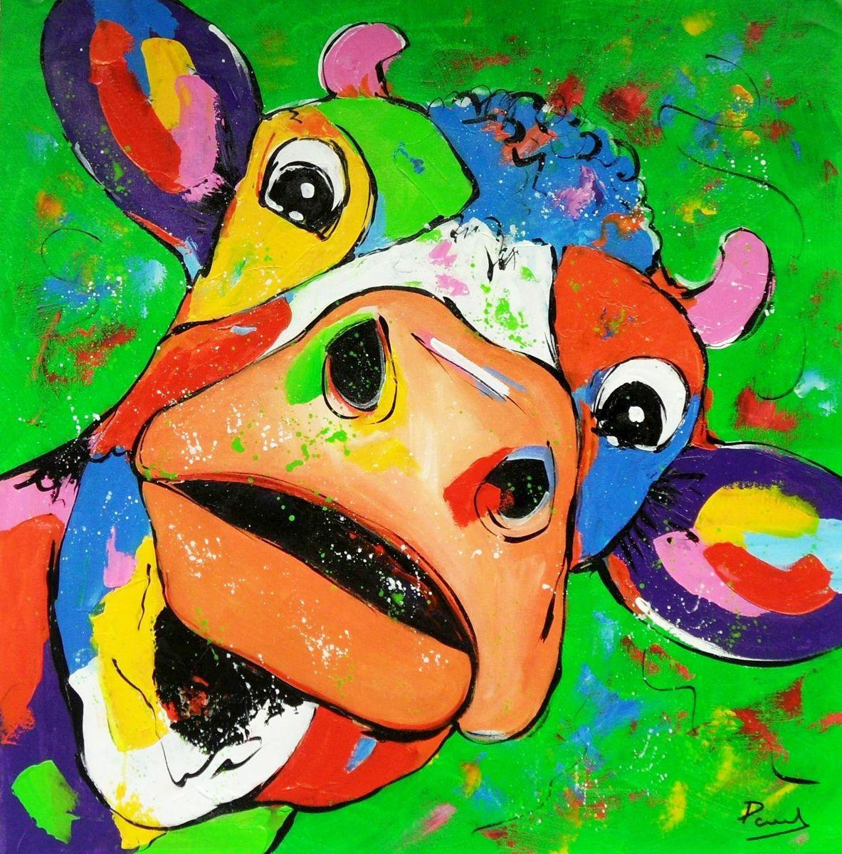 Modern Art - Kuh Elsa g96482 80x80cm lustiges Ölbild