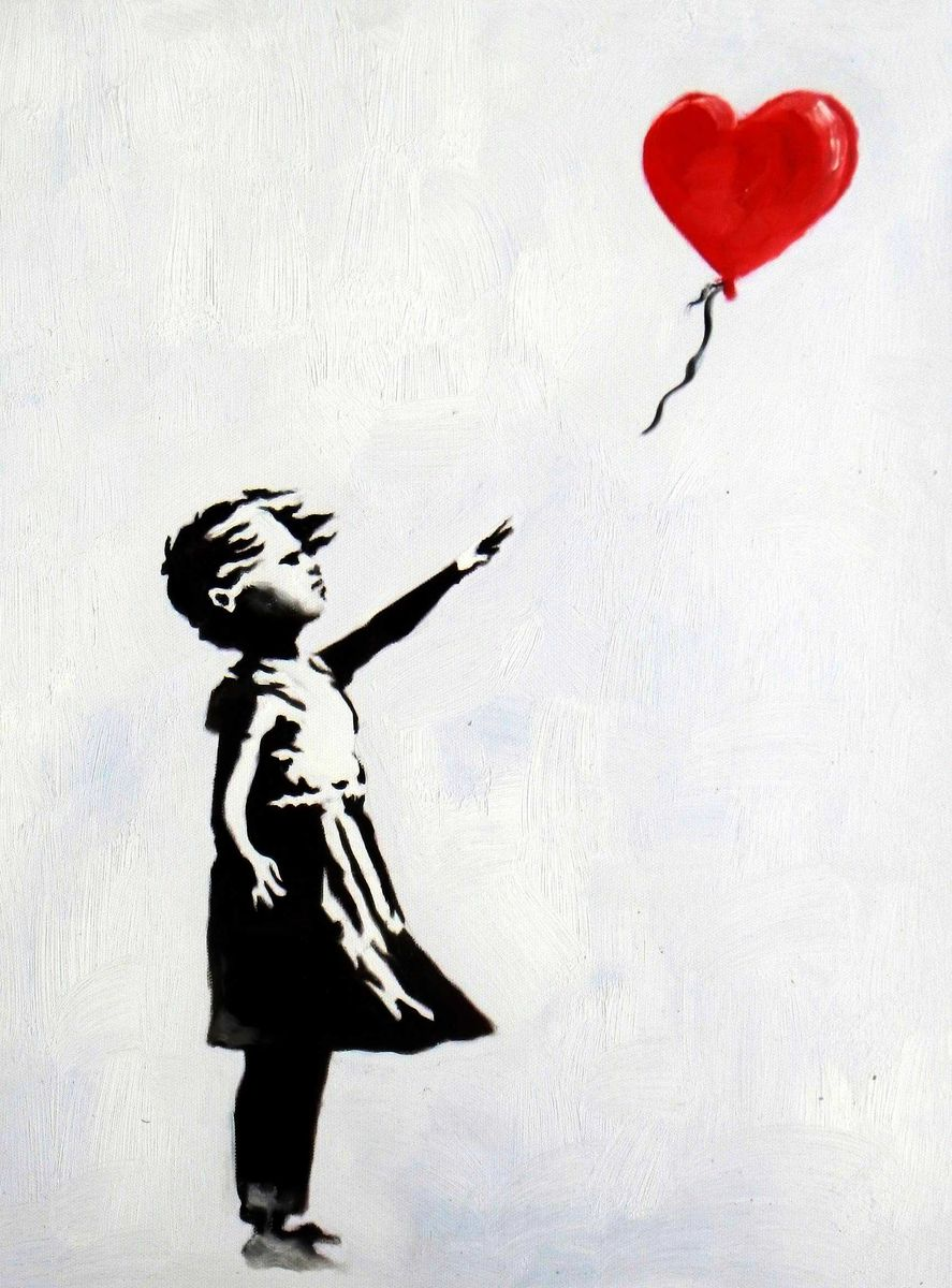 Homage to Banksy - Girl with balloon a95995 30x40cm exquisites Ölgemälde