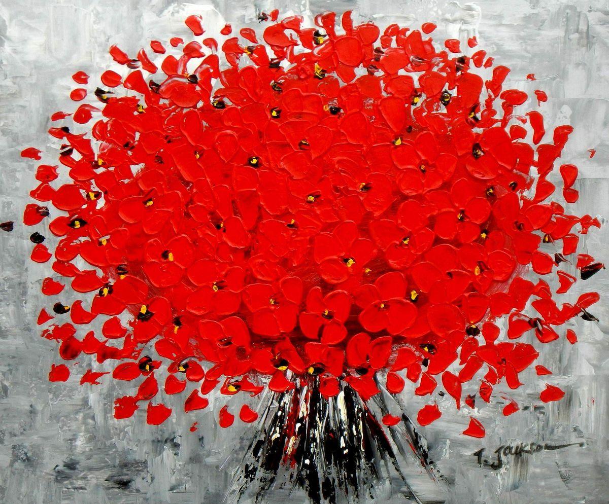 Modern Art - Abstrakte rote Blumen c96044 50x60cm Ölbild handgemalt