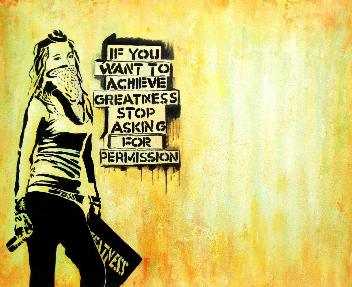 Homage to Banksy - Achieve greatness c96059 50x60cm exquisites Ölbild