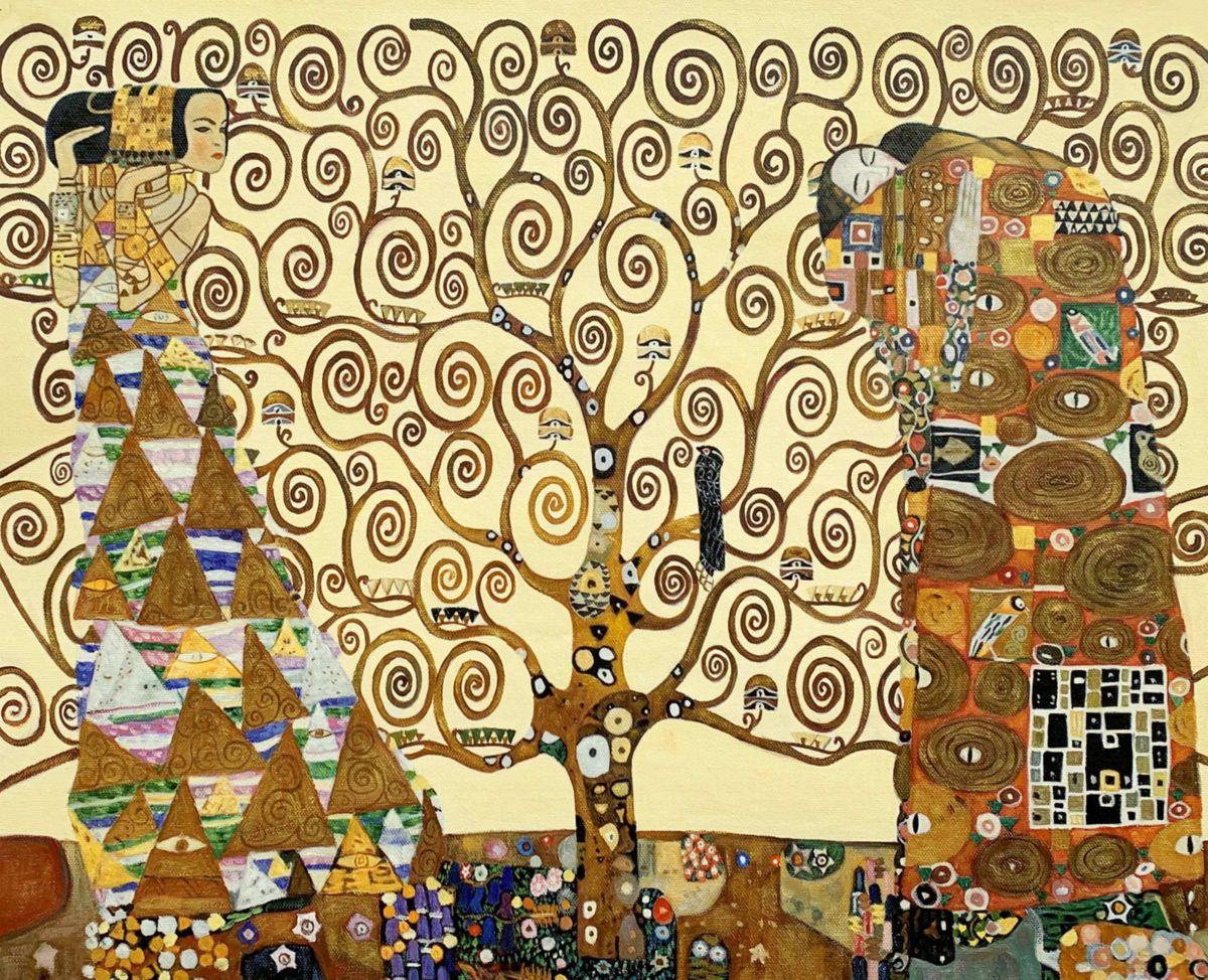 Gustav Klimt - Der Lebensbaum c96284 50x60cm Jugendstil Ölgemälde handgemalt Museumsqualität