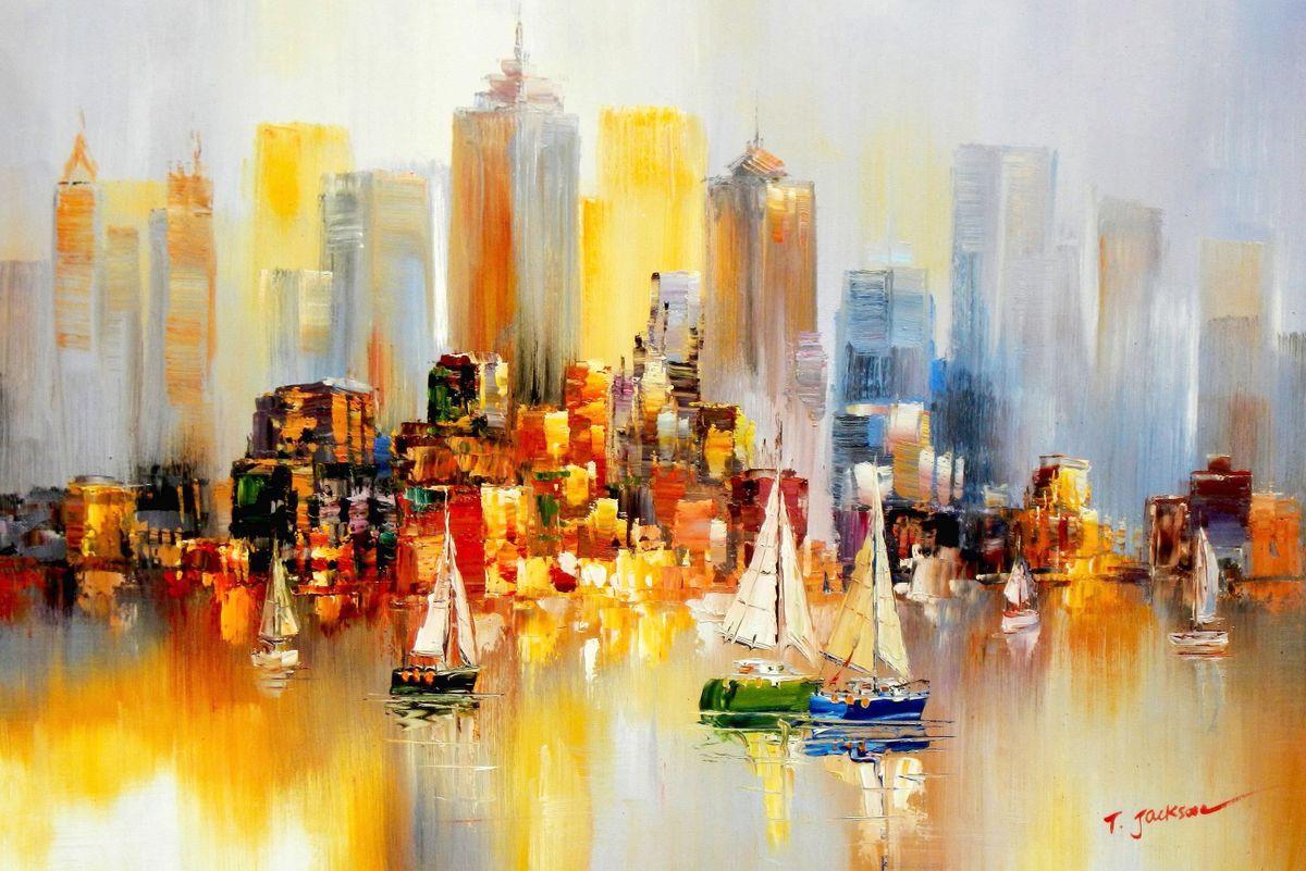 Modern Art - Auf dem Hudson River New York City d96226 60x90cm Ölbild